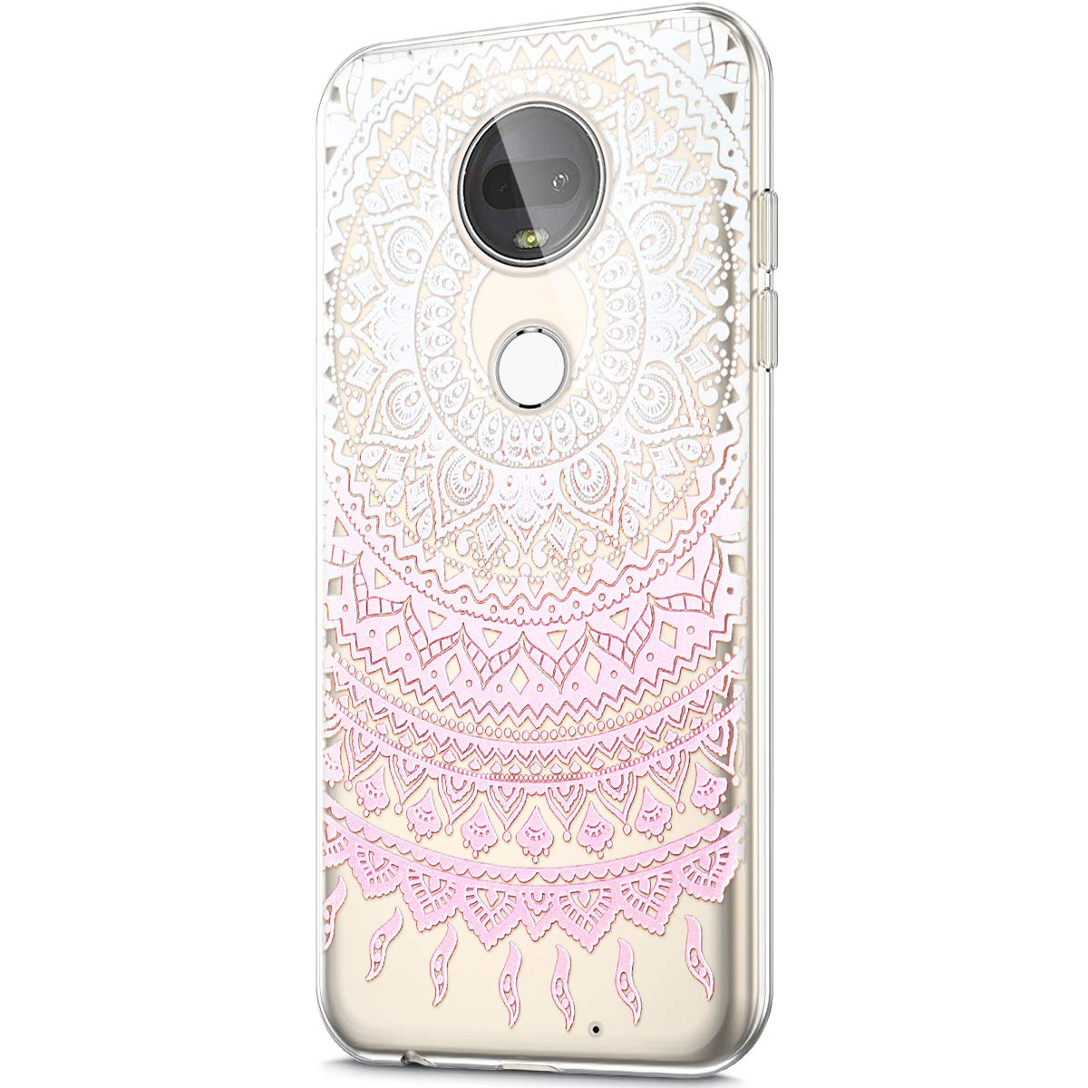 ikasus Case for Moto G7,Crystal Clear Art Panited Design Soft /& Flexible TPU Ultra-Thin Transparent Soft Rubber Gel TPU Protective Case Cover for Moto G7 Silicone Case,Pink Green Sun flower