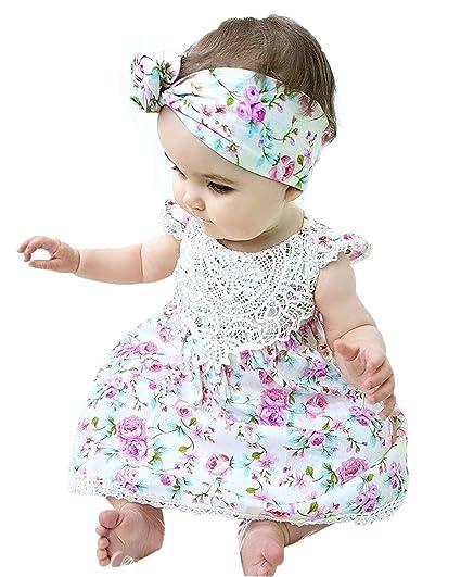 como comprar los mejores precios mejor calidad BiggerStore Niña Recien Nacido Ropa de Verano el Vestido de Verano con Lazo  para Bebe Nina