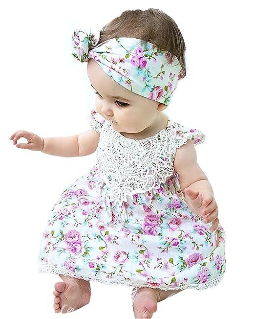 0104076a2 BiggerStore Nina Recien Nacido Ropa de Verano el Vestido de Verano con Lazo para  Bebe Nina