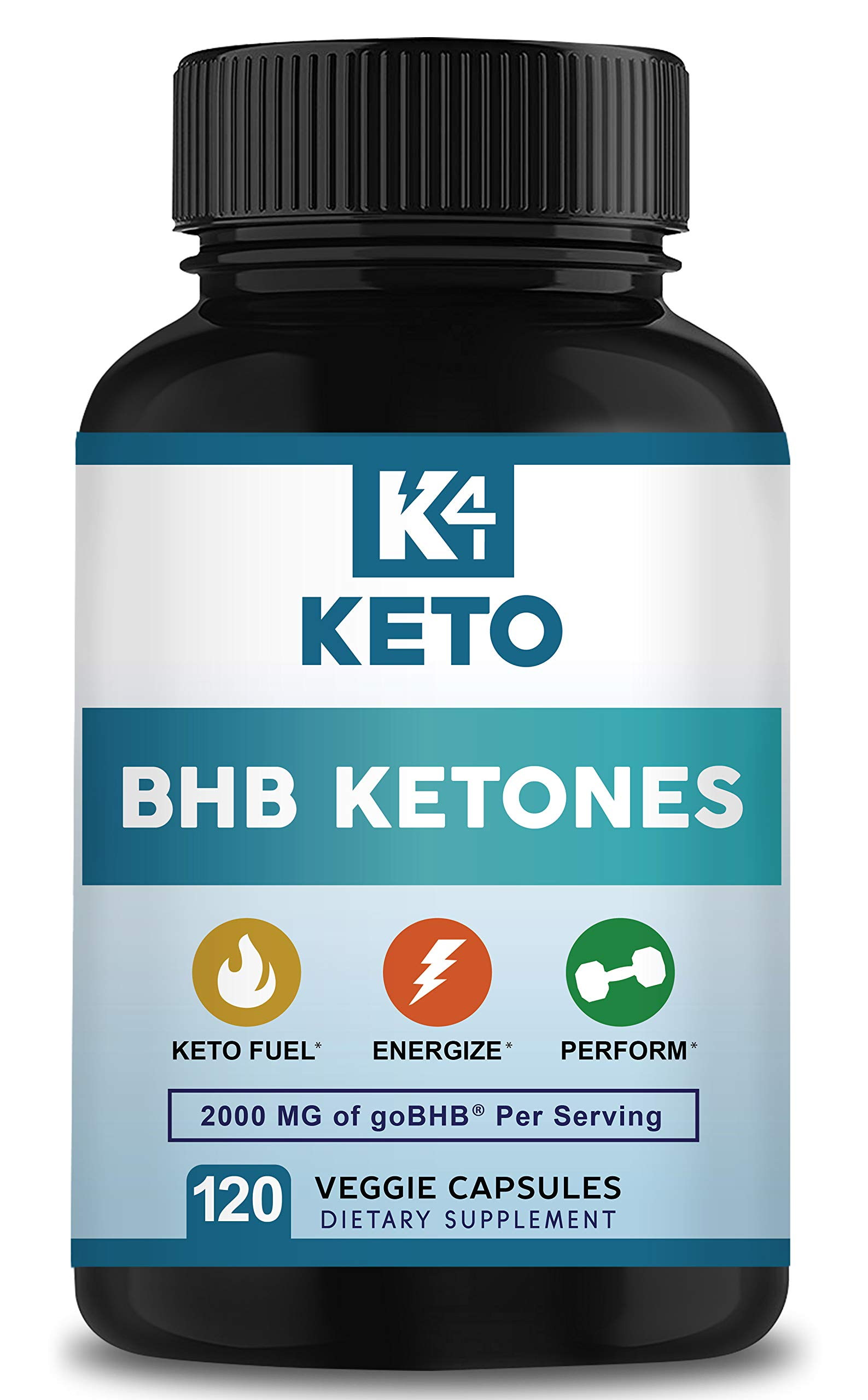 K4 Keto BHB - Exogenous Ketones BHB Salts Capsules - 2000mg of Patented goBHB Beta-Hydroxybutyrate - Ketone Supplement Pills to Support Ketogenic Diet & Ketosis by K4 Keto