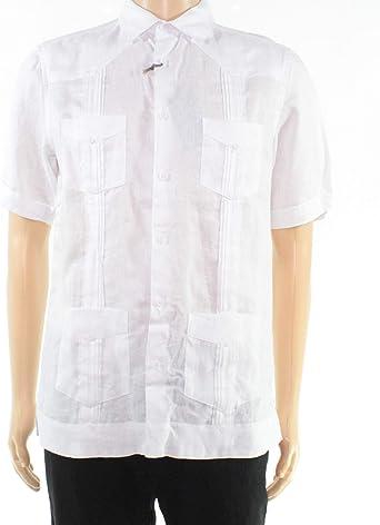 Tasso Elba - Camisa de Lino con Botones para Hombre - Blanco - Small: Amazon.es: Ropa y accesorios