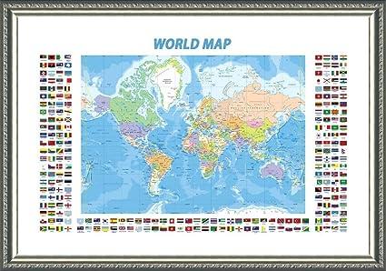 Modern Day World Map.Amazon Com Alonline Art Political Modern Flags World Map Silver