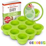 KIDDO FEEDO Baby Food Storage Container and Freezer Tray with Silicone Clip-On Lid - 9x2.5oz Easy-out Portions - BPA Free and FDA Approved - FREE eBook by Award-winning Author/Dietitian - Green