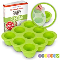 KIDDO FEEDO Baby Food Container Tray with Silicone Clip-On Lid - 9x75ml Easy-Out Pots - Suitable for Freezing and Baking - BPA Free - Free eBook by Award-Winning Author/Dietitian - Green