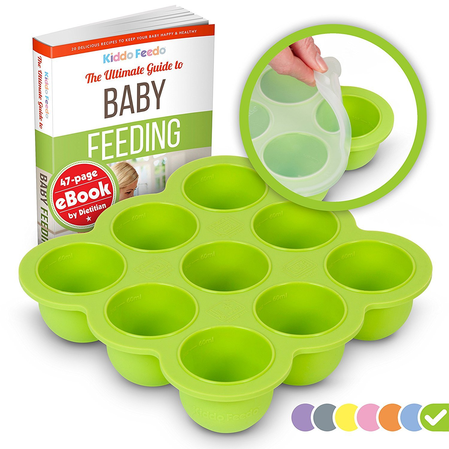 KIDDO FEEDO Baby Food Storage Container and Freezer Tray with Silicone Clip-On Lid - 9x2.5oz Easy-Out Portions - BPA Free/FDA Approved - Free EBook by Award-Winning Author/Dietitian - Green by Kiddo Feedo