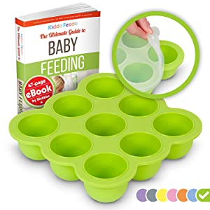KIDDO FEEDO Baby Food Storage Container and Freezer Tray with Silicone Clip-On Lid - 9x2.5oz Easy-Out Portions - Free E-Book by Award-Winning Author/Dietitian - Green