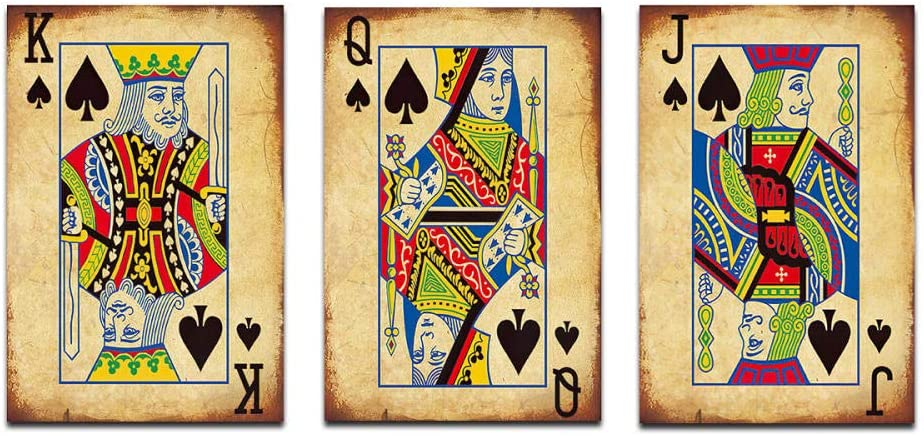 Vintage Poker Playing Cards Canvas Decorative Painting-Set of 3 Art Abstract Canvas Paintings Wall Art Home Decor High-Definition Print Bar/Restaurant Decoration Posters 20x30inch-3pcs NO FRAME