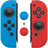 Joy-Con Gel Guards with Thumb Grip Caps (1 Pair / 4pcs), Fosmon Anti-Slip Silicone Skin Cover L/R with Thumb Stick Grip…