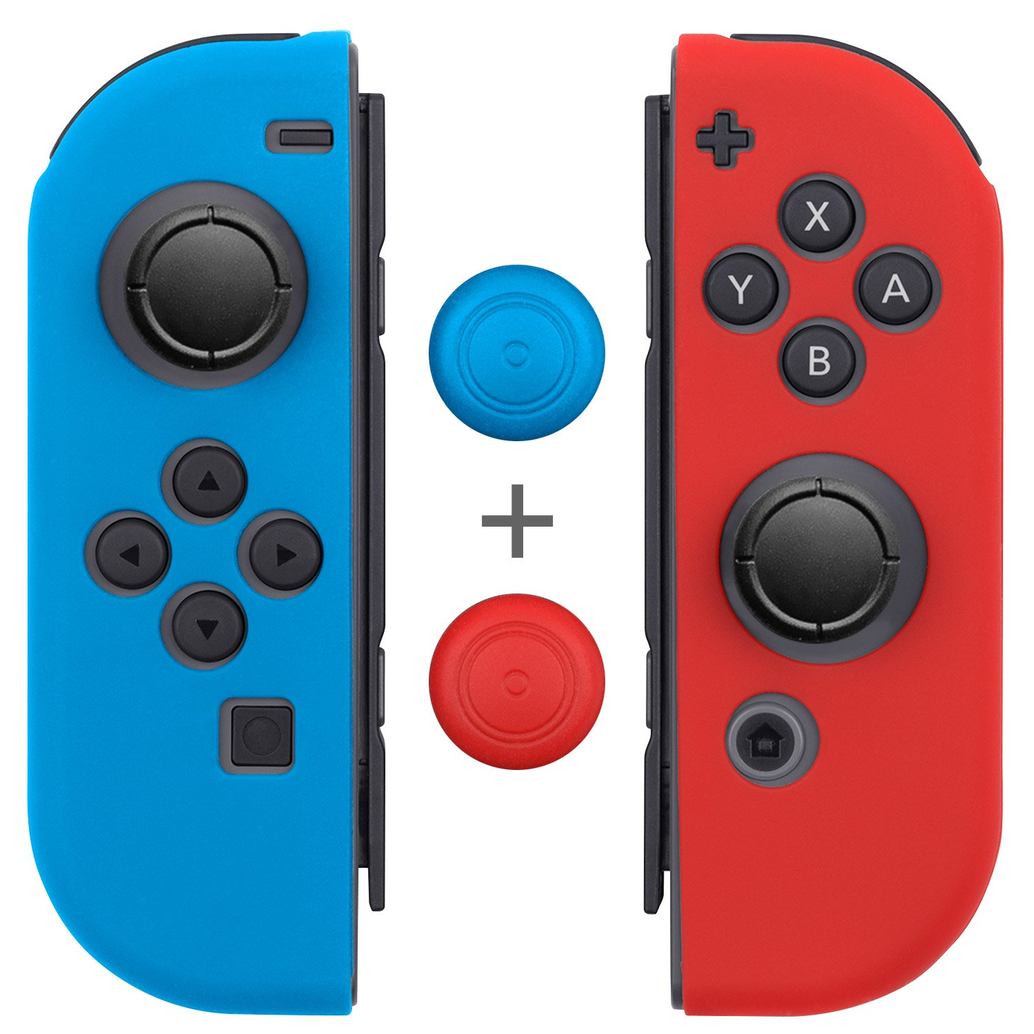 Joy Con Grips (1 Pair / 4pcs), Fosmon Anti-Slip Silicone Joy Con Gel Guards Skin Cover L/R with Thumb Stick Caps for Nintendo Switch Joy Con Controller (Blue/Red)