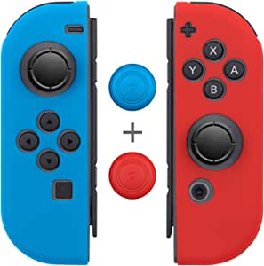 Joy-Con Gel Guards with Thumb Grip Caps (1 Pair / 4pcs), Fosmon Anti-Slip Silicone Skin Cover L/R with Thumb Stick Grip Caps for Nintendo Switch Joy Con Controller (Blue/Red)