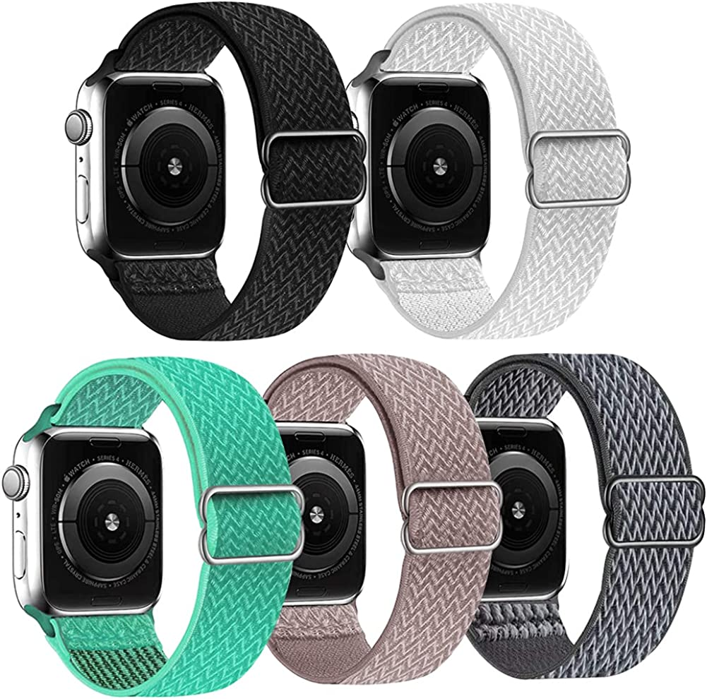 5 Packs Nylon Stretch Band Compatible with Apple Watch Bands, Adjustable Soft Sport Breathable Loop for Iwatch Series 6/5/4/3/2/1/SE, Black/white/sand powder/blue feather/dark gray,38/40mm