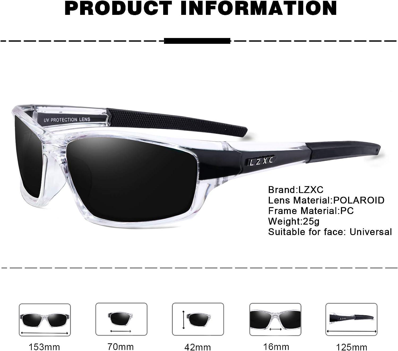 LZXC Herren Sport Polarized Sonnenbrille mit ultraleichtem Rahmen UV400-Schutz zum Fahren Radfahren