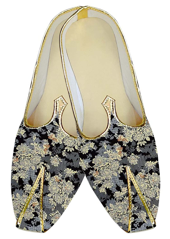 INMONARCH Hombres Zapatos de Boda Gris Beige Flor MJ015981 42.5 EU