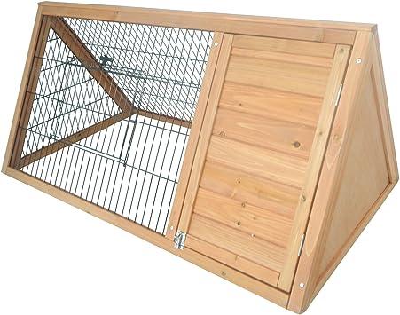 PawHut Outdoor Triangular Wooden Bunny Rabbit Hutch/Guinea Pig House with Run