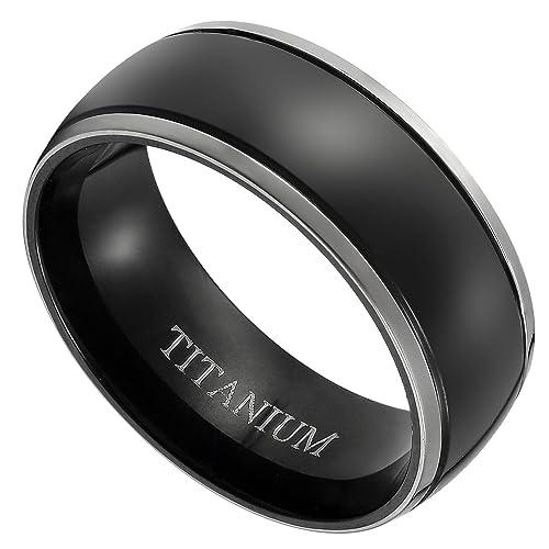 Flongo Anillo de compromiso, Anillo negro titanio pulido, Vintage clásico anillos de hombre,