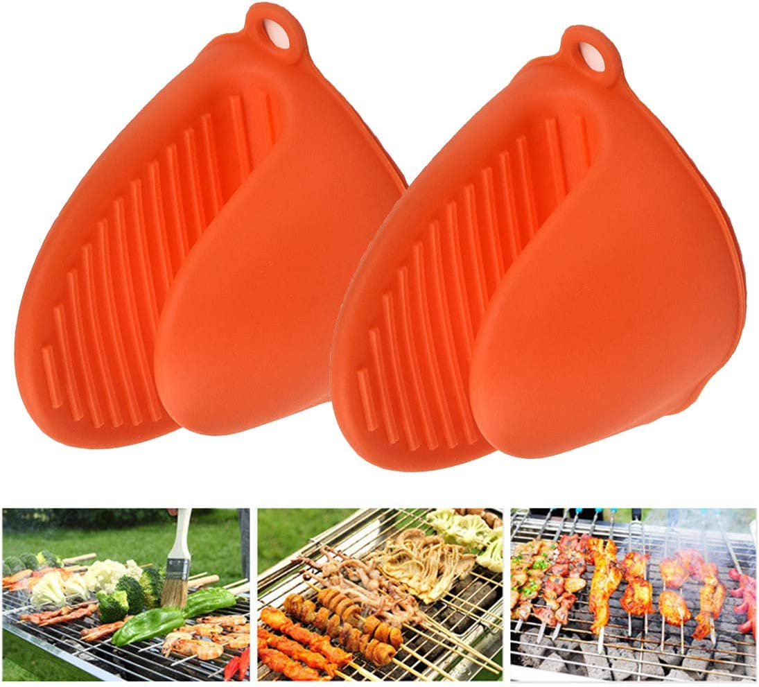 XIMIXI Oven Pinch Mitts, Heat Insulation Non-stick Pot Gloves for Cooking Baking, 2Pcs Orange