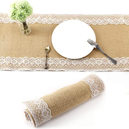 Mlance-Camino de mesa, tela de yute con encaje 180 x 30 cm, diseño ...
