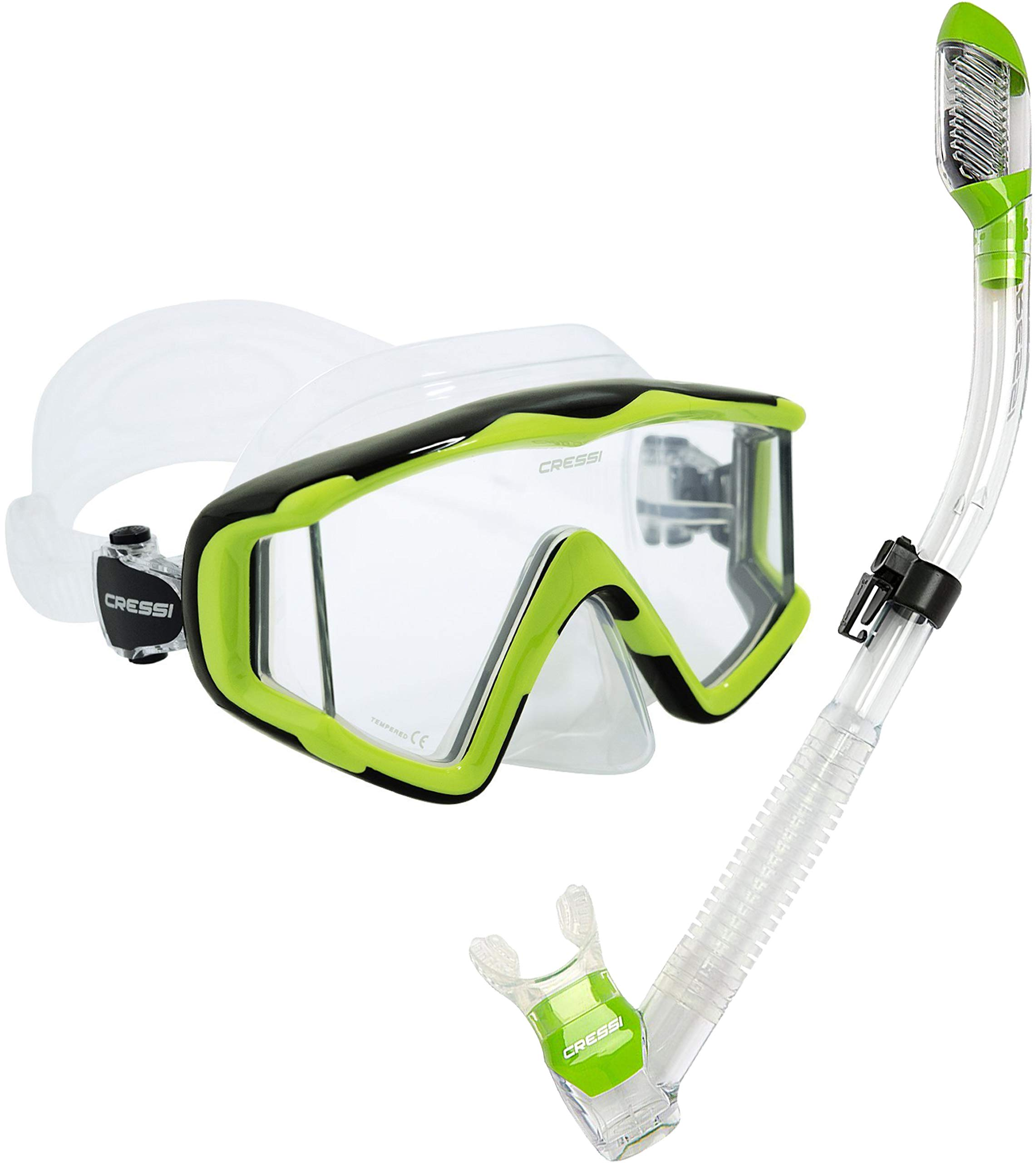 Cressi Panoramic Wide View 3 Panel Mask Dry Snorkel Set, Lime Green/Clear Silicone by Cressi