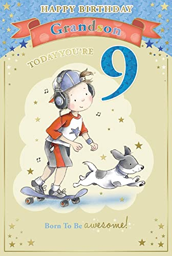 Grandson's 9th Birthday Card - 9 Today Boy & Headphones On ...