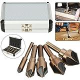 面取りカッター  バリ取り MOHOO 高速度鋼工具 パンチ 82度 木工 金属 加工 5枚刃 6-19mm 5本セット 収納ケース付き