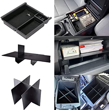 EDBETOS 3rd Gen Tacoma Accessories for Toyota Tacoma 2016-2020 Center Console Organizer Tray and Divider and Glove Box Organizer Armrest Interlock Secondary Storage ABS Material