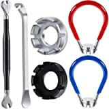 Mudder 5 Pieces Bicycle Spoke Wrench Bike Spoke Tool with 1 Piece Tire Lever Bike Rim Correct Kit Cycling Pocket Tools…