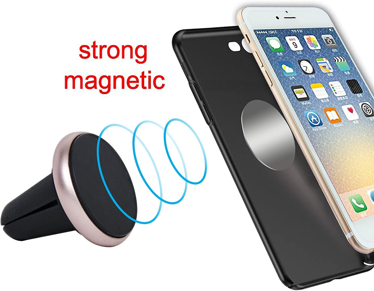 Universal Navor Metal Magnetic Air Vent Car Mount Holder Phone Holder for All Smartphones and Mini Tablets