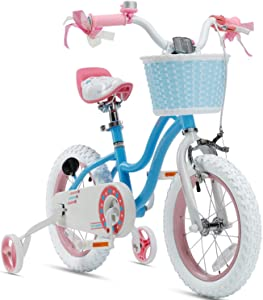 RoyalBaby Girls Kids Bike Stargirl 12 14 16 18 Inch Bicycle 3-9 Years Old Basket Training Wheels Kickstand Pink Blue Child's Cycle