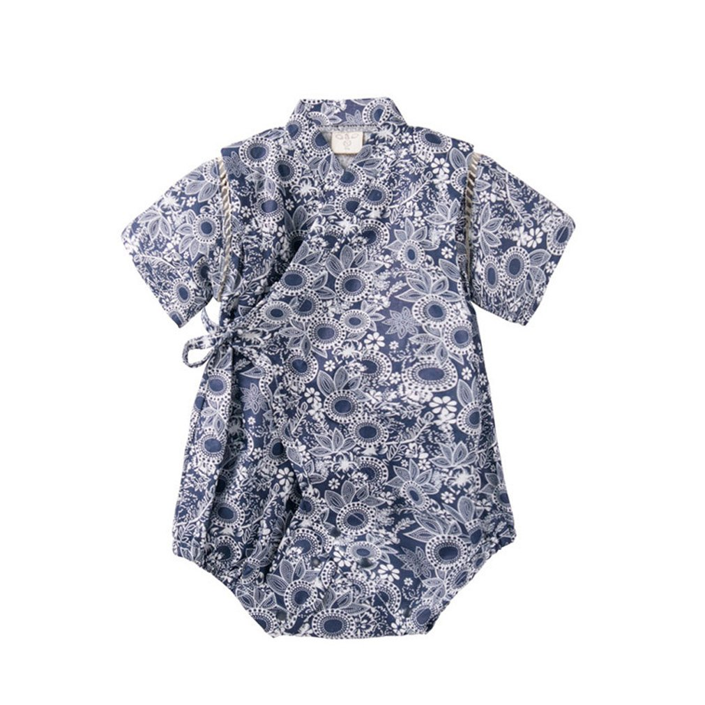 ACVIP Baby Kid Toddler Boy Girl Flower Printed Bodysuit Romper Jumpsuit Japanese Kimono Bathrobe Style (9-18 Months, Blue 2)