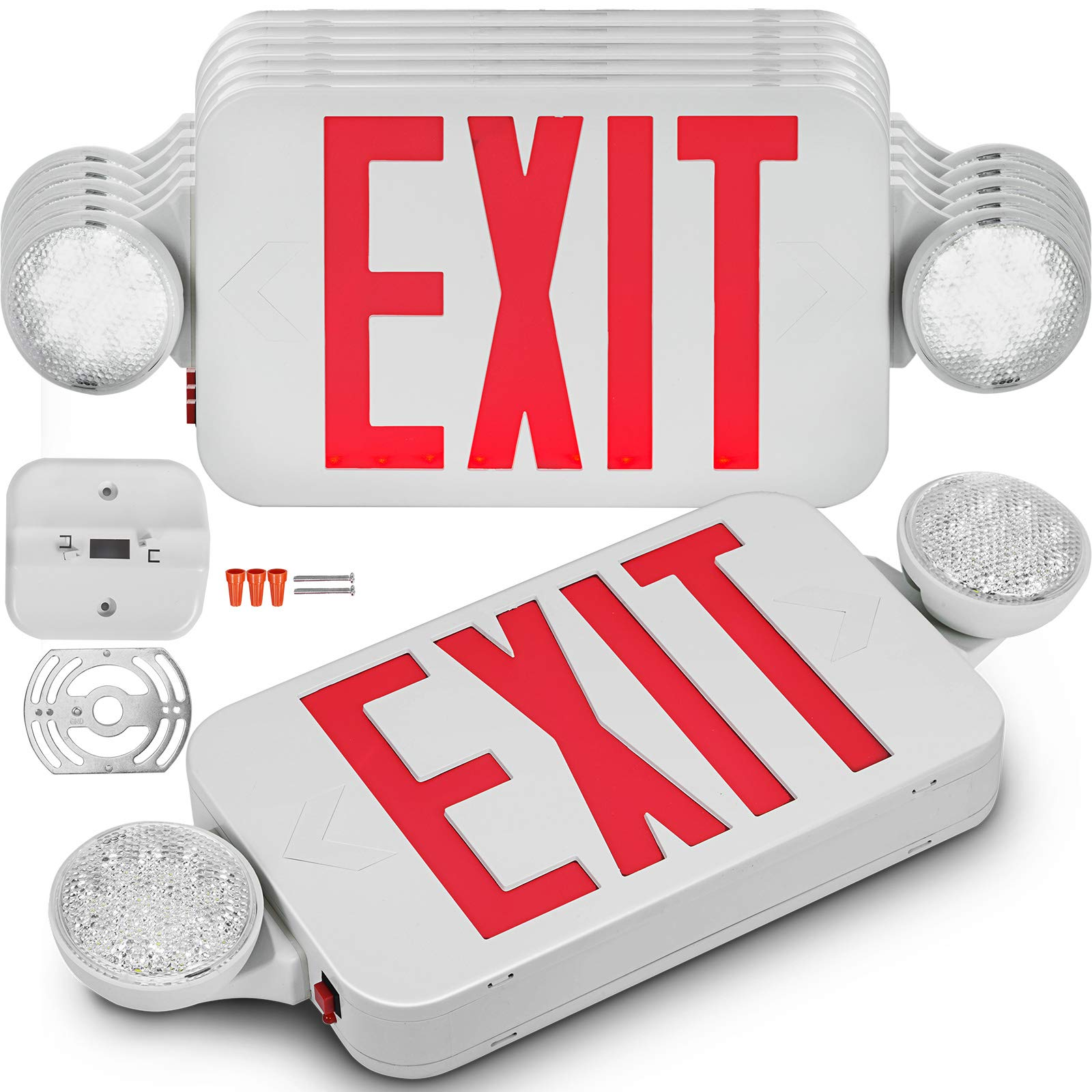 Happybuy 6 Pack Emergency Lights Red EXIT Sign with Dual LED Lamp Heads ABS Fire Resistance Exit Light with Emergency Light Photoluminescent Exit Sign Emergency Exit Light Led Exit Alarm