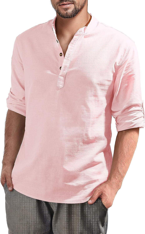 Aimeilgot Henley - Camiseta de manga larga para hombre de algodón y lino, ajuste holgado