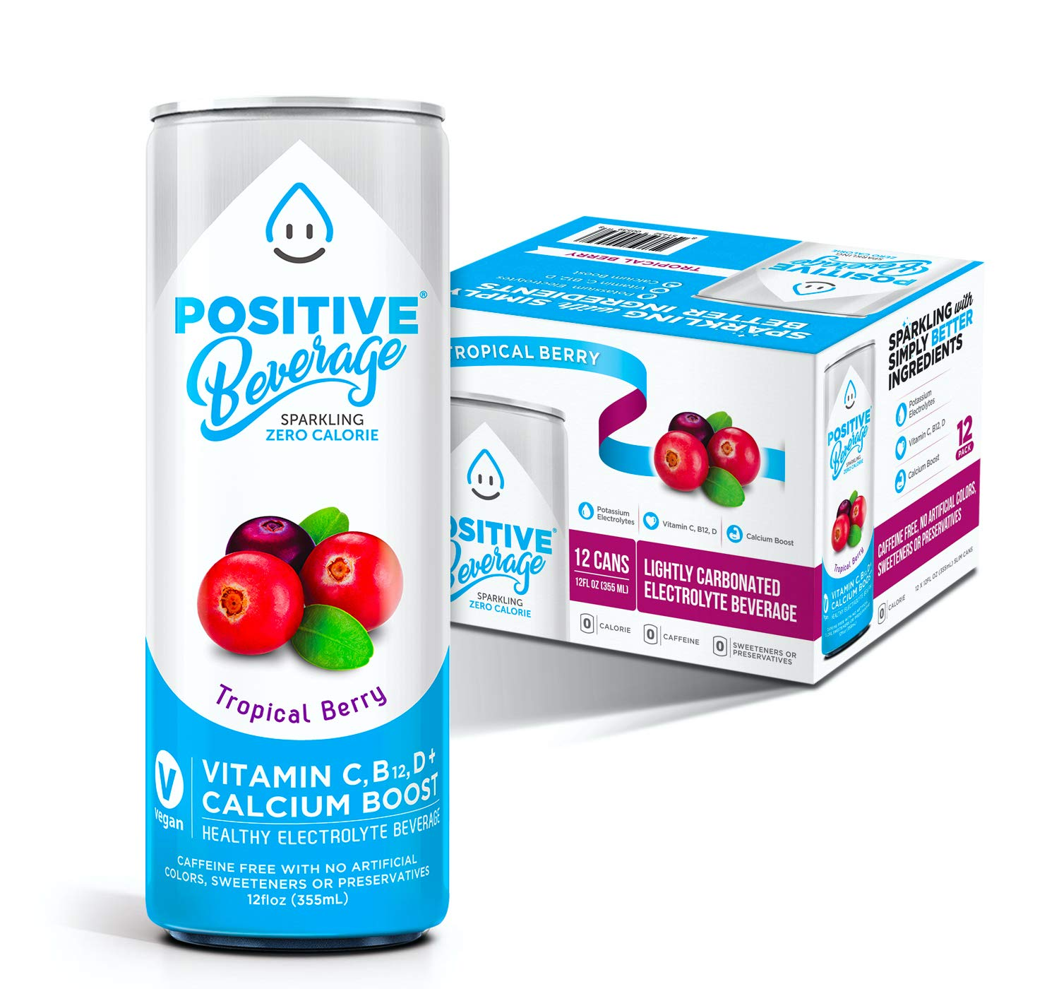 Positive Beverage IMMUNITY BOOST Tropical Berry, Zero Calorie, Electrolyte Beverage with Vitamins and Calcium, 12fl oz Cans, 12 Count Case