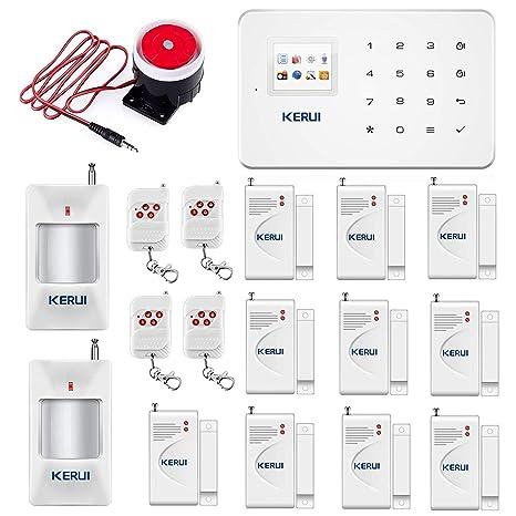 KERUI G18 gsm y SMS Sistema de Alarma de Seguridad de la Oficina en Casa InalÁMbrica Auto Dial Kit de Bricolaje con Sirena de Interiores PIR Detector ...