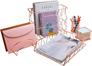 PAG Rose Gold Office Supplies 5 in 1 Desk Organizer Set, Includes Hanging Wall File Holder, Letter Tray, Mail Sorter, Pencil Holder and Sticky Note Holder