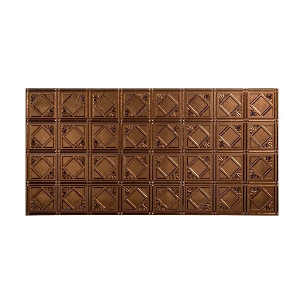 Fasade Easy Installation Traditional 4 Oil-Rubbed Bronze Glue Up Ceiling Tile / Ceiling Panel (2' x 4' Panel)