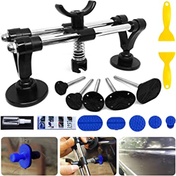 Car Dent Repair Tool with Bridge Dent Puller and Dent Puller Tabs for Car Dent Removal Door Dings and Hail Damage Dents Dent Puller Minor Dent Removal