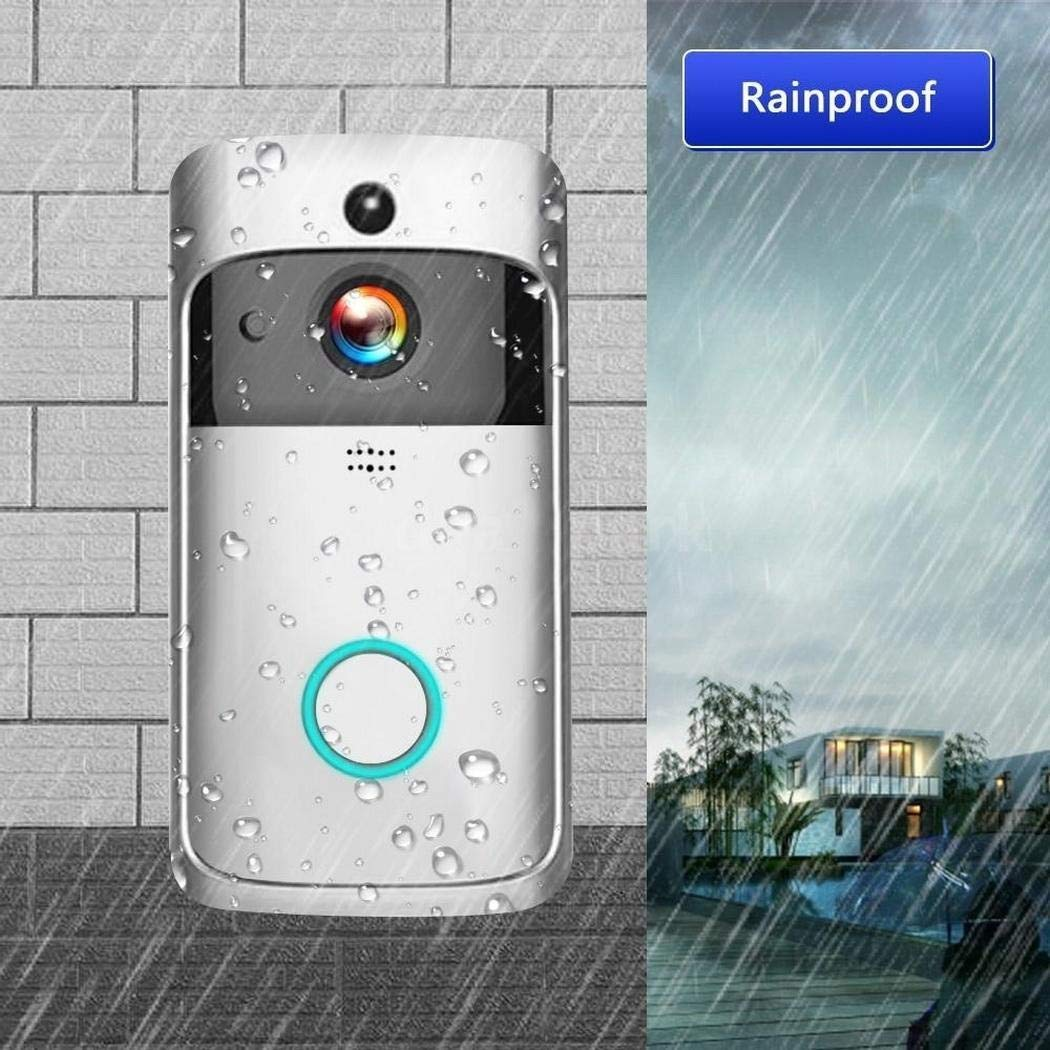 Night Vision for iOS Android Queind Wireless WiFi Video Doorbell HD Security Camera with Two-Way Talk /& Video PIR Motion Detection