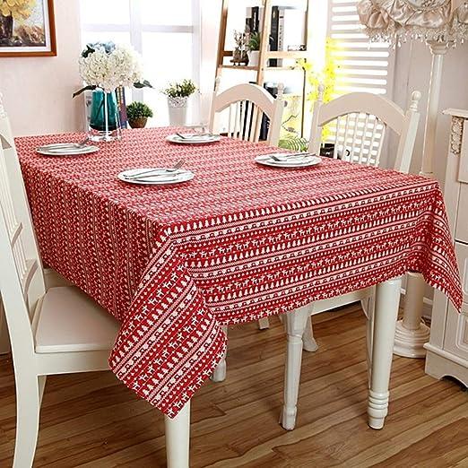 QINSHAN Árbol Mantel de Lino de algodón poliéster imitación Navidad Ciervos Tabla de té Mantel de Tela Calidad Inicio Decoración (Color : Red, Size : 140X220CM): Amazon.es: Hogar