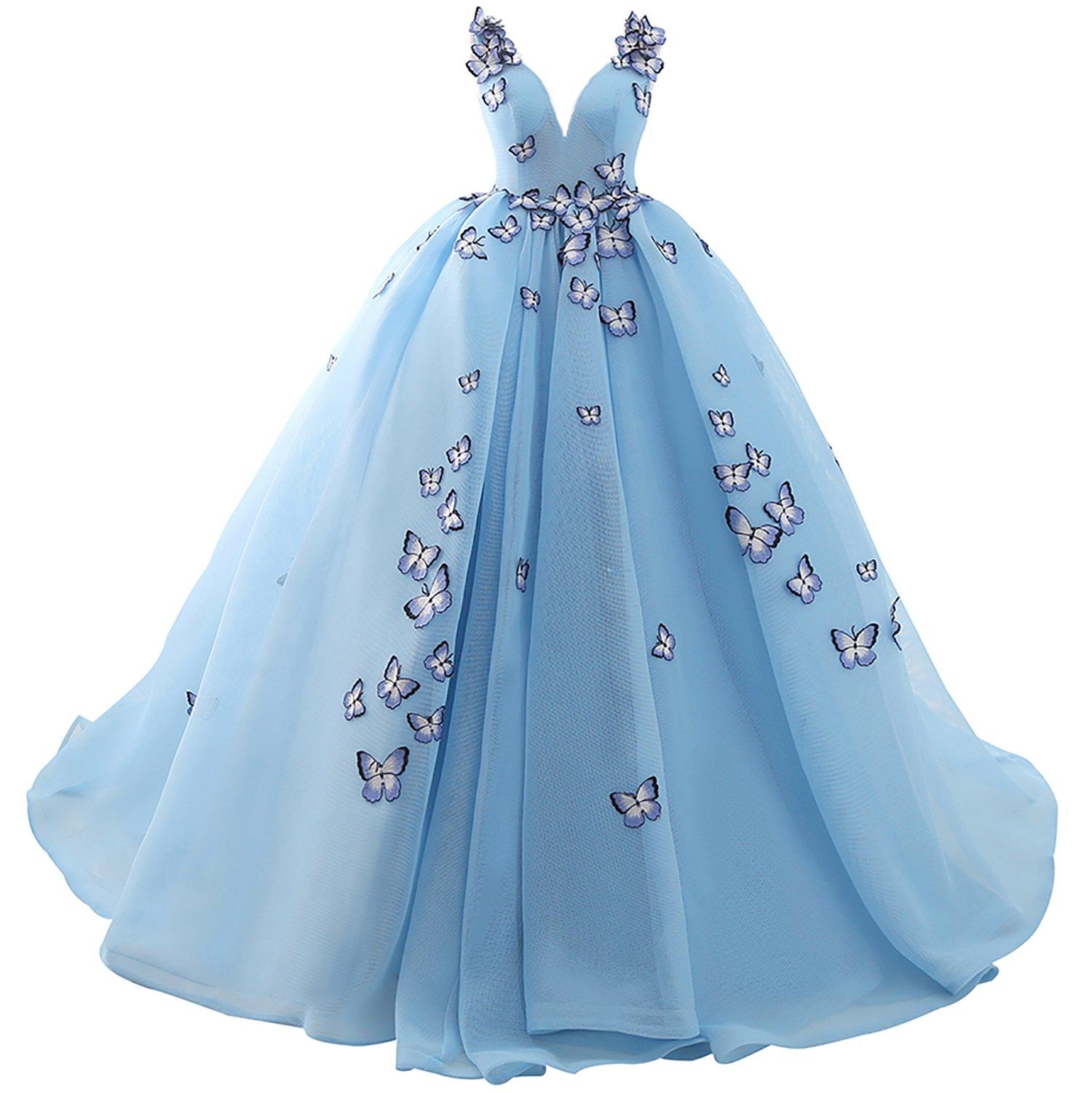 JoJoBridal Women's Butterfly A Line Long Prom Dresses Ball Gown Size 4 Sky Blue