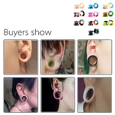 Huacan 20 Piezas Expansor de Túnel Silicona Delgada Suave Ear Plug Precing Dilatador de oreja Diez Color 8MM: Amazon.es: Joyería