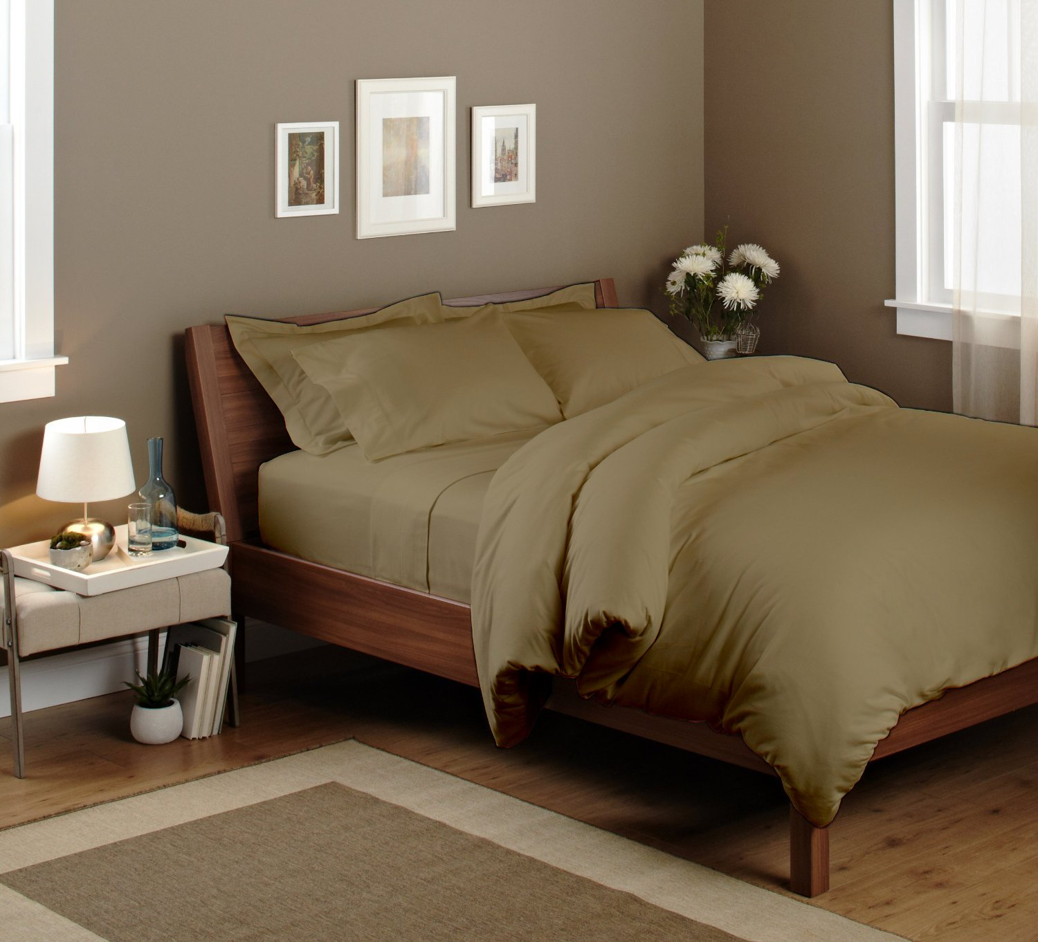 Rainbow Circo 100% Bamboo cotton 600 thread count fill luxurious Italian finish 4 piece premium sheet set comfort Sheet set with 24'' deep pocket made in India (Taupe, Cal-king) by Rainbow Circo (Image #1)