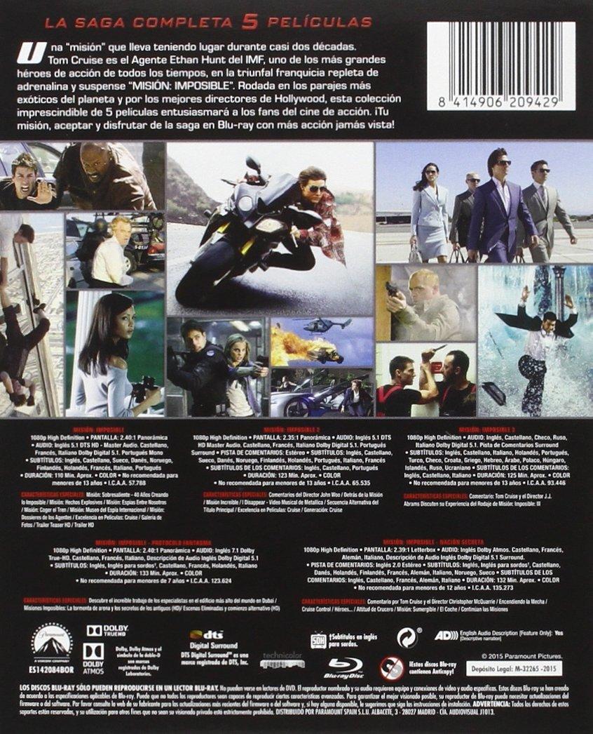 Pack: Misión Imposible 1-5 [Blu-ray]: Amazon.es: Tom Cruise ...