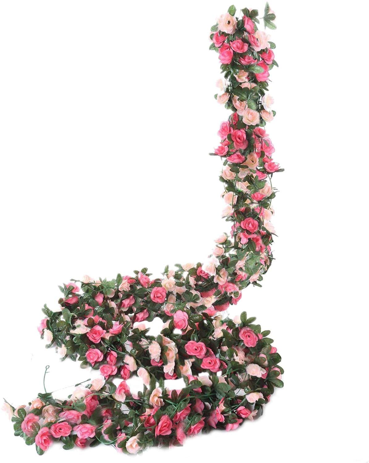 Miracliy 8 pcs 66 FT Flower Garland Fake Rose Vine Artificial Flower Hanging Rose Ivy Home Hotel Office Wedding Party Garden Craft Art Décor (Pink)