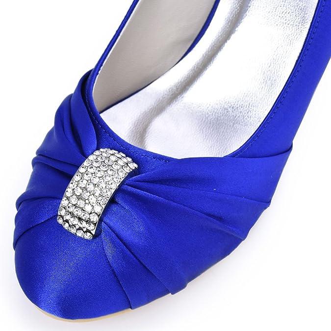 ElegantPark HC1526 Mujer'S Punta Chiusa Tal¨®n Medio Plisado Rhinestones Sat¨¦n Partido De Tarde Zapatillas Blue 41 qBsbYMBBcK