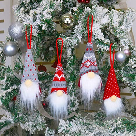 Scandinavian Tomte Set of 3 Gnomes for decorating the Christmas tree Christmas gnome New Year Ornaments Farm house Christmas tree decor