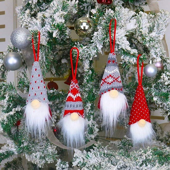 Amazon Com Hlomve Christmas Gnome Ornaments Nordic Swedish Tomte Xmas Gnomes Plush Doll Handmade Santa Elf Christmas Tree Hanging Decoration Set Of 4 Home Kitchen