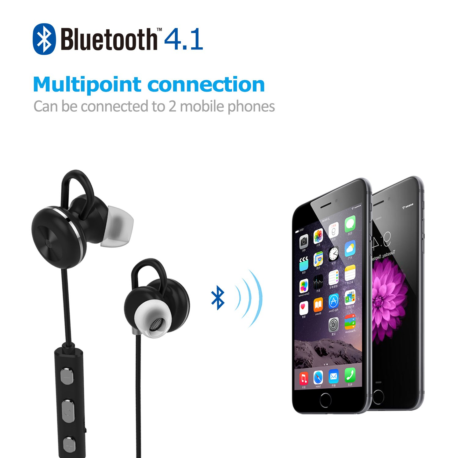 Bluetooth Headphones,Lobkin Bluetooth In Ear Headphones Wireless Earbuds Sports Magnetic Sweatproof Earphones Noise Cancelling Headsets with Mic, Black