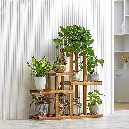 Moda simple 5 capas de madera maciza estante Jardín patio balcón sala de estar multicapa estante planta anticorrosión Planta de almacenamiento estante de ...