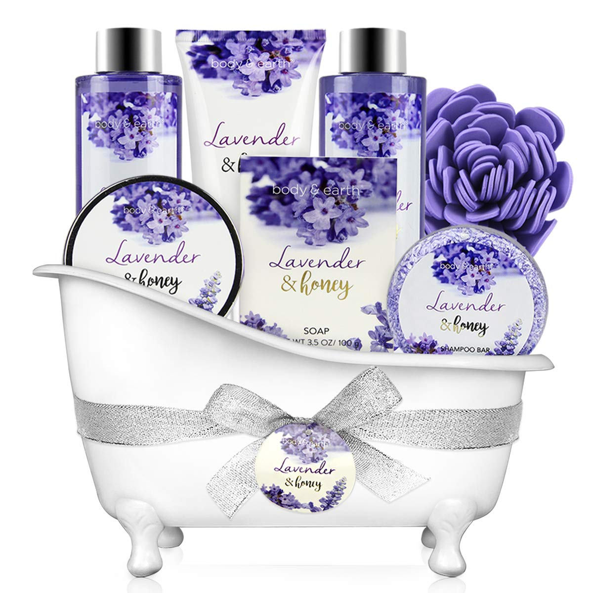 Bath and Body Gift Set - Body & Earth 8 Pcs Bath Spa Gift Sets Lavender&Honey Scent, Includes Bubble Bath, Shower Gel, Soap, Body Lotion, Bath Salt and More, Perfect Gift Basket for Home Relaxation by BODY & EARTH