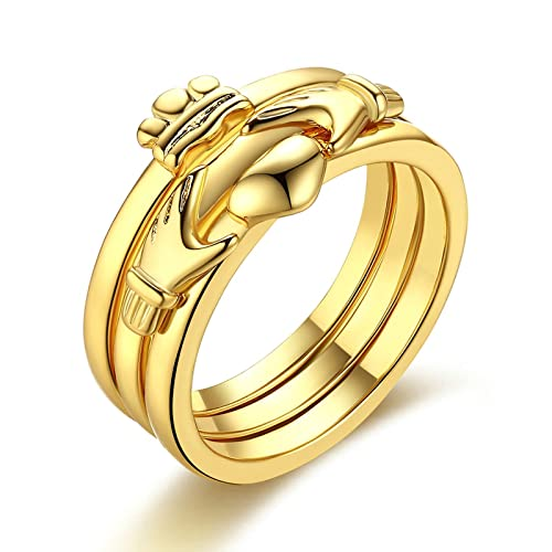 Adisaer Damas Anilloe Cobre Anillo de Bodas Oro Manos Con Corazón Corona Anillo Tamaño 12 Compromiso